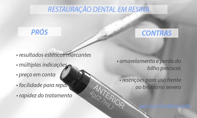 restauração dental em resina prós e contras